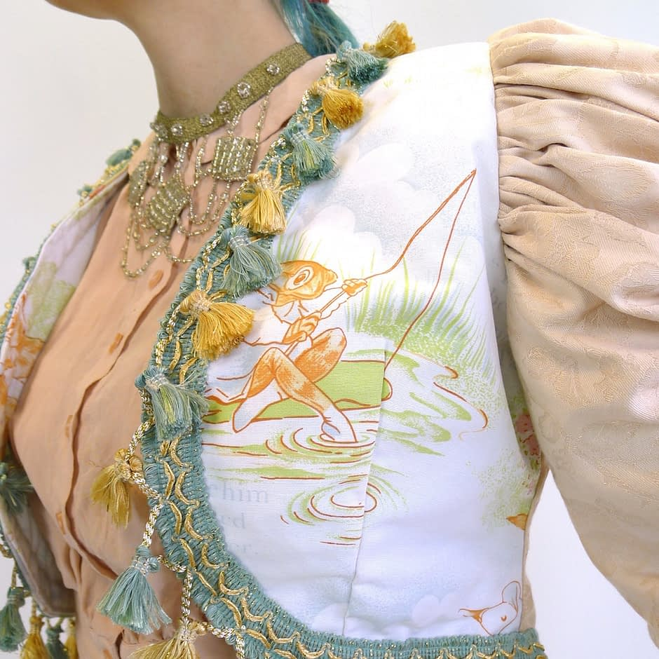 Cream Gold Teal Upcycled Mutton Sleeve Statement Tassel Jacket with Peter Rabbit