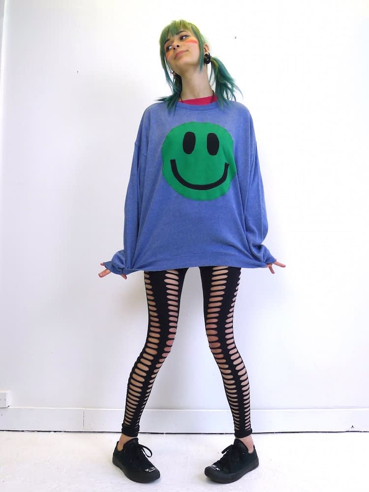 upcycled acid smiley green on blue sweatshirt