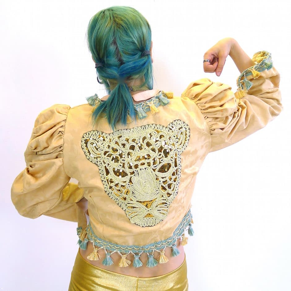 Cream Gold Teal Upcycled Mutton Sleeve Statement Tassel Jacket Sequin Leopard