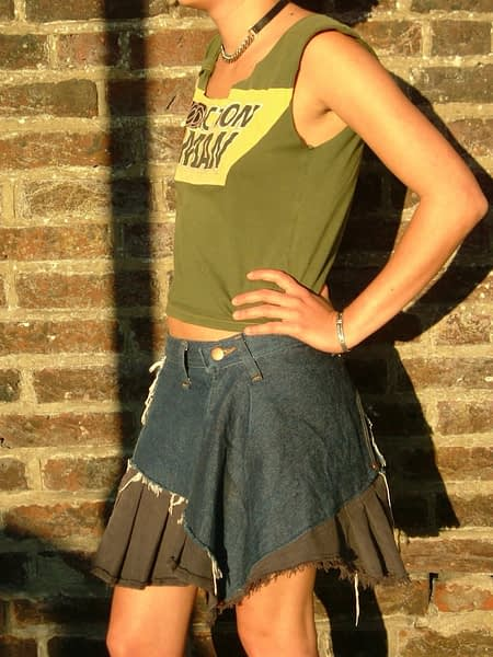 upycled jean skirt with frill