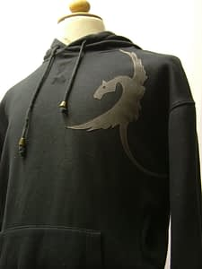 upcycled eco customised dragon sweatshirt black