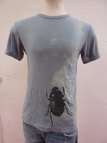 beetle screen print bleach dye eco t-shirt