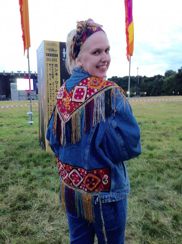 hand embellished customised denim jacket latitude festival