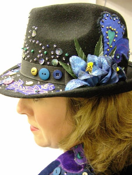 Made to order customised embellished suit jacket and hat