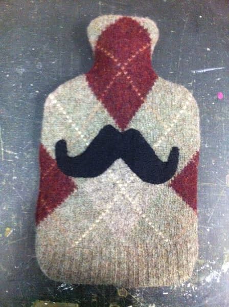 upcycled wool hotwater bottle moustach