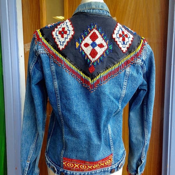 denim jacket hand beaded fringing