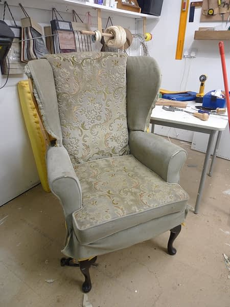 wingback chair in progress