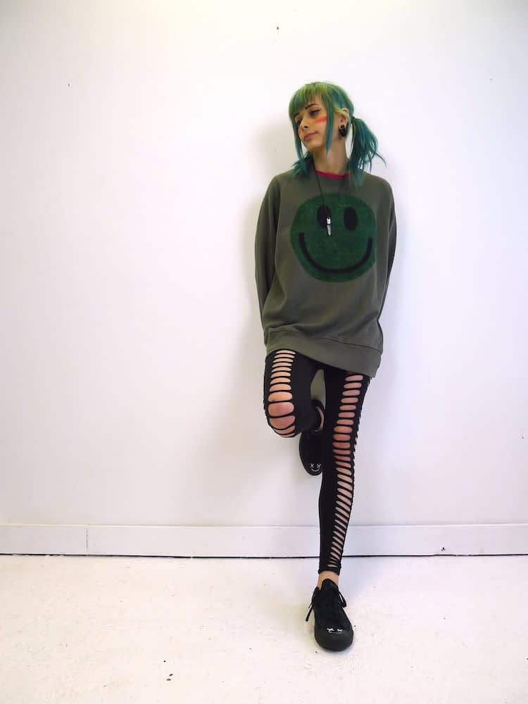 upcycled acid smiley green on green sweatshirt