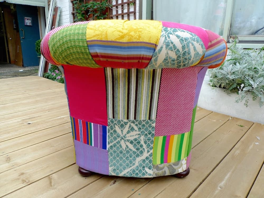 upcycled patchwork armchair remade reupholstered deep button