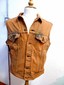 dyed stitched distressed levis denim vest