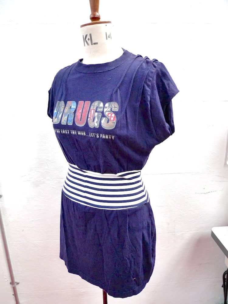 tshirt dress handmade blue