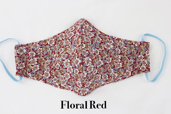 floral red eco cotton face mask covering