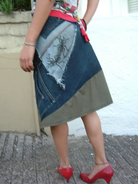 twisted denim skirt