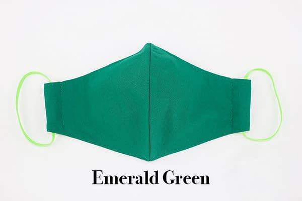 emerald green organic cotton eco face mask covering