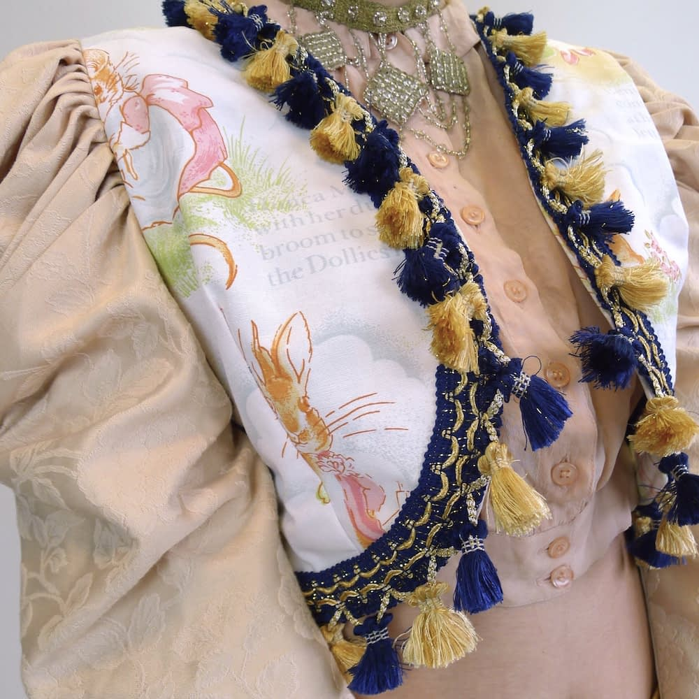 Cream Gold Navy Upcycled Mutton Sleeve Statement Tassel Jacket with Peter Rabbit