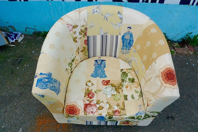 upholstery patchwork armchair cream oriental
