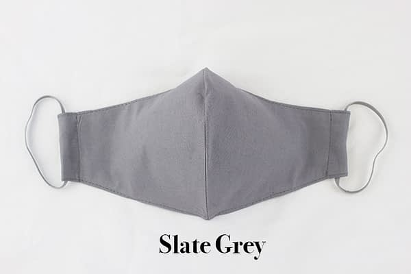 slate grey organic eco cotton face mask covering