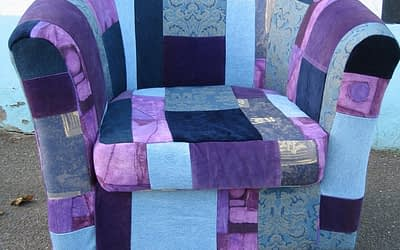 Blue & Purple Patchwork Armchair