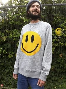 upcycled acid smiley sweatshirt