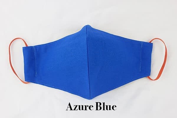 azure blue eco organic cotton face mask covering