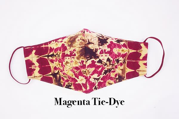 Magenta Tie-Dye Face Mask Covering with Organic Lining