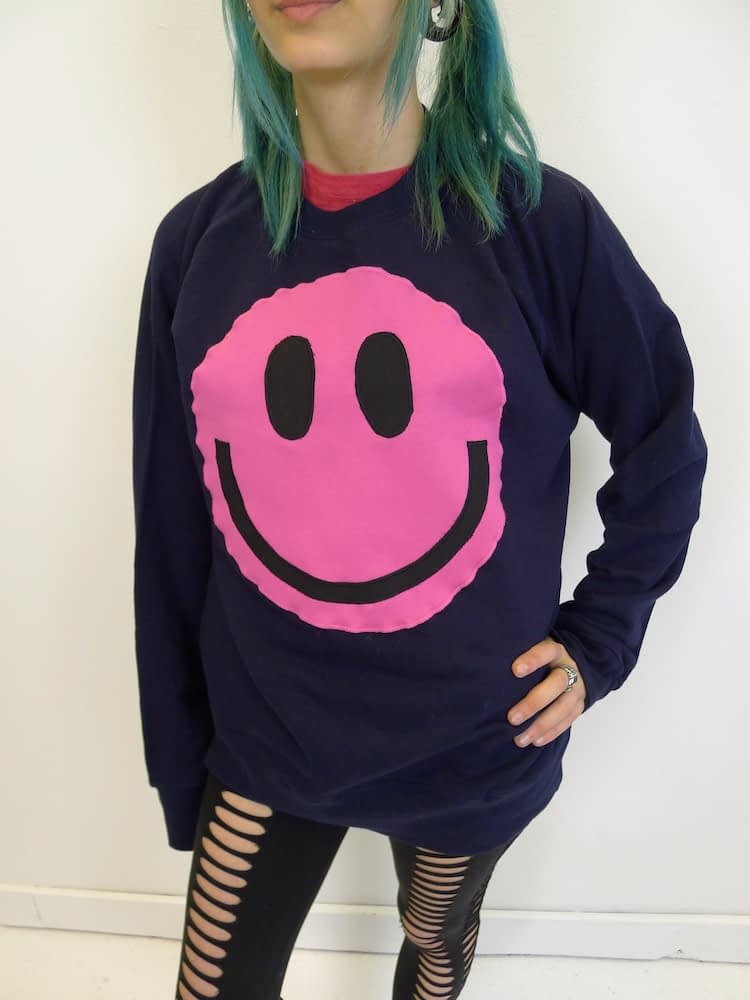 upcycled acid smiley pink on navy sweatshirt