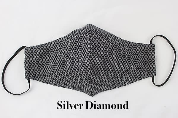 silver diamond eco cotton face mask covering