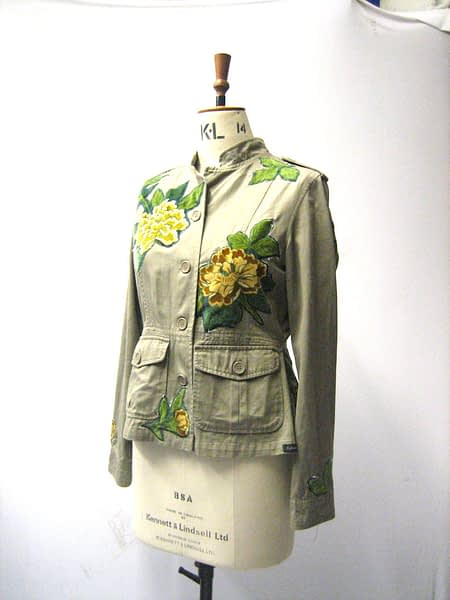 handmade applique floral jacket