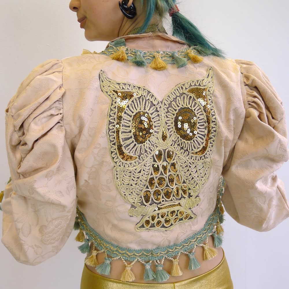 Cream Gold Teal Upcycled Mutton Sleeve Statement Tassel Jacket Sequin Owl