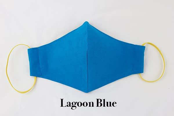 lagoon blue organic cotton eco face mask