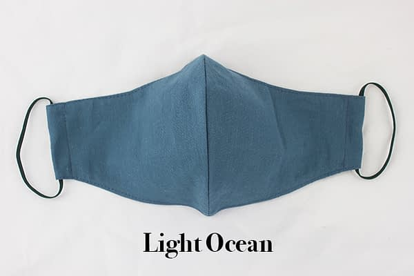 light ocean blue eco organic cotton face mask covering