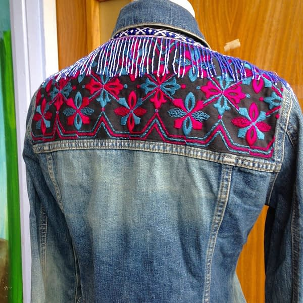 denim jacket beaded trim