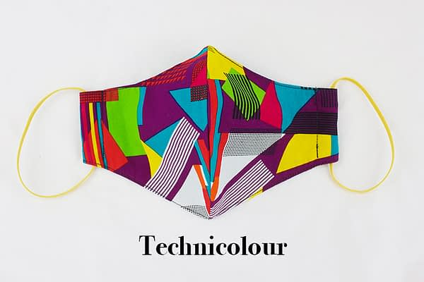 technicolour cotton eco face mask covering
